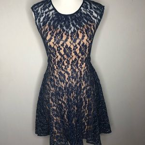 Miss Me MM Couture Blue and Gold Lace Dress